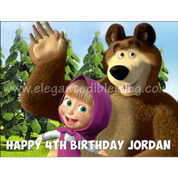 MASHA AND BEAR CAKE TOPPER A4 PERSONALISED EDIBLE BIRTHDAY CAKE DECORATION